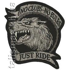 Нашивка с вышивкой WOLF No Clubs No Rules Серая