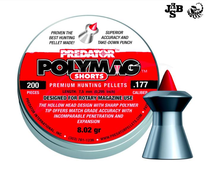 Пули пневматические JSB Polymag Shorts 4.5мм 0.52г 200шт