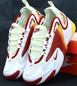 Мужские Кроссовки Nike Zoom 2K White Red, Найк Зум 2К белые с красным