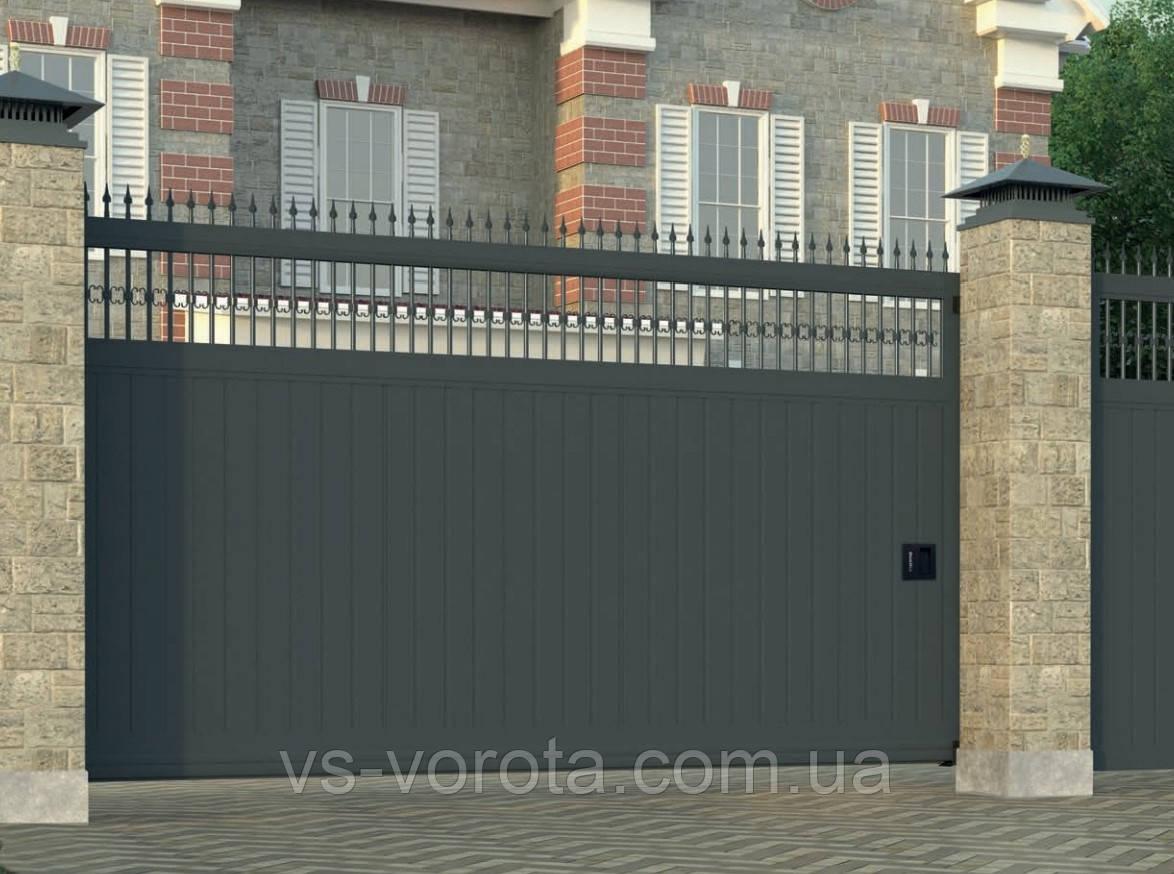 Откатные ворота Профлист кованые элементы, размер 3700х2300 мм