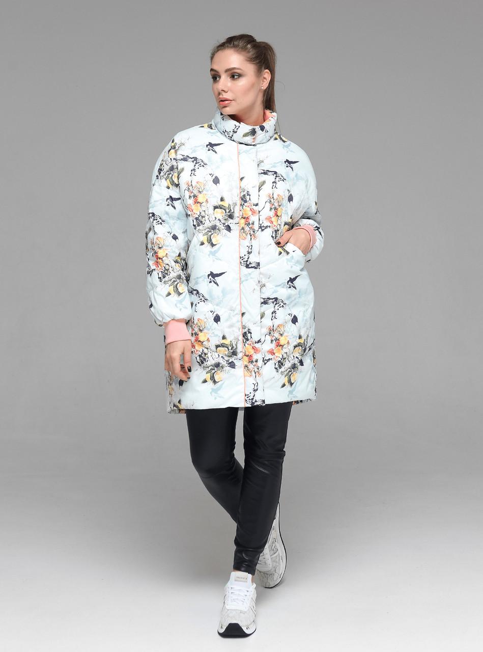 Яркая женская демисезонная куртка CW19C736CW c цветочным принтом - новая коллекция CLASNA 2019