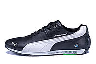 Мужские кожаные кроссовки  Puma BMW MotorSport Black (реплика), фото 1