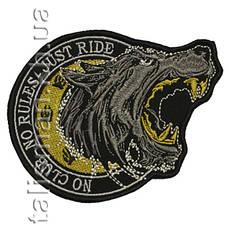 Нашивка с вышивкой WOLF No Clubs No Rules Желтая