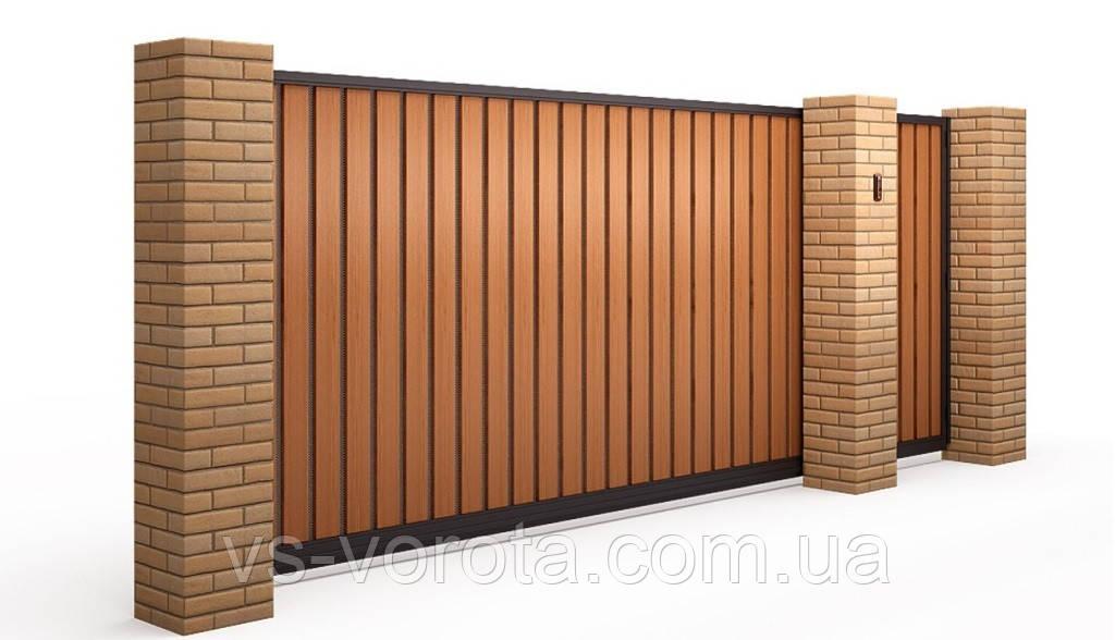 Откатные ворота Профлист, автоматические размер 3000х2200 мм