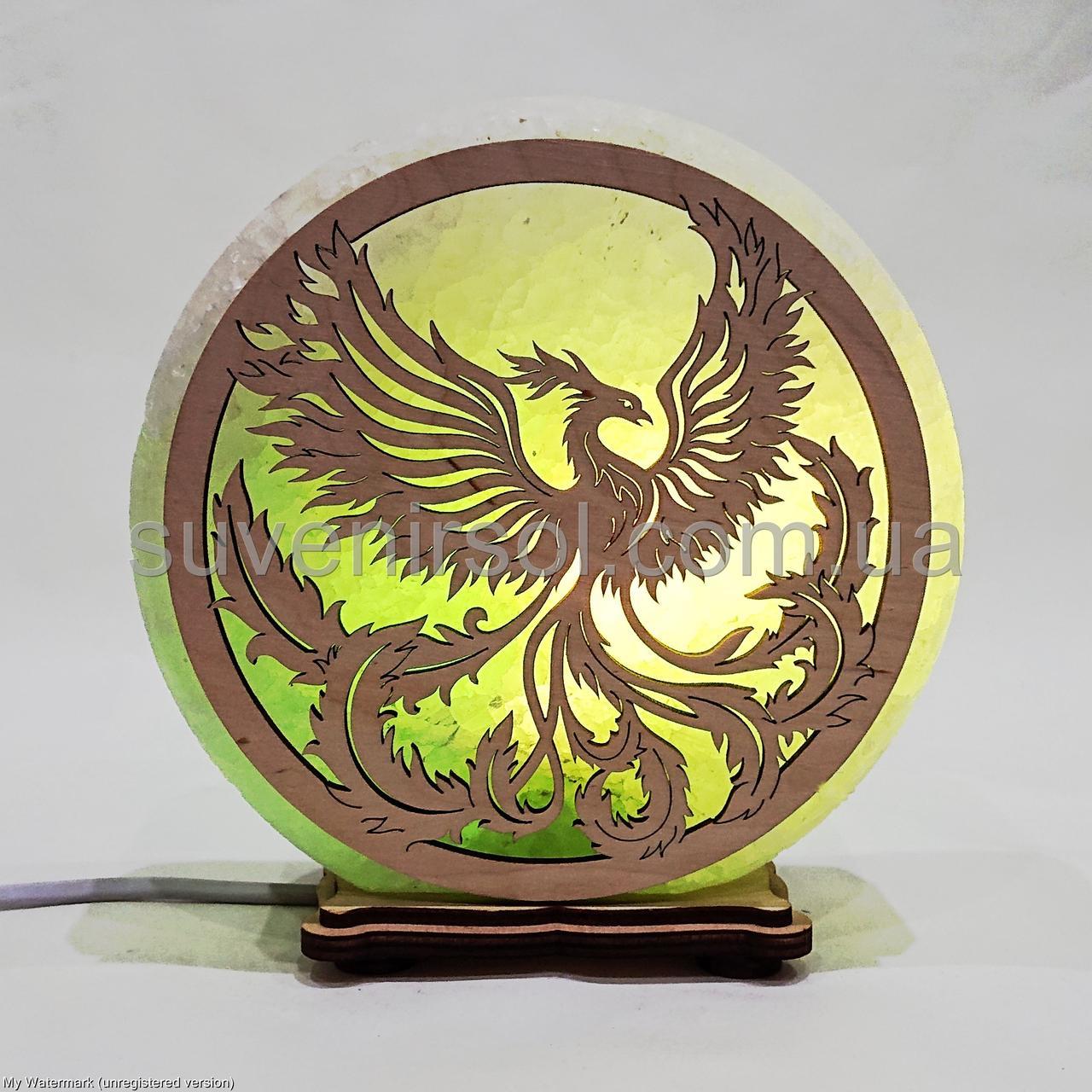 Соляной светильник круглый Феникс