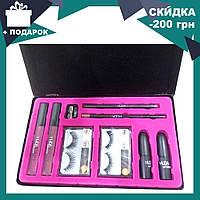 Набор косметики HUDABEAUTY 9 в 1   помада матовая   карандаш для бровей и губ   накладные ресницы