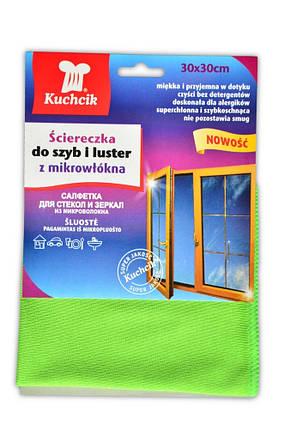 Салфетка микрофибра для стекла и зеркал 30х30 см, 1 шт (96-020-212) шт., фото 2