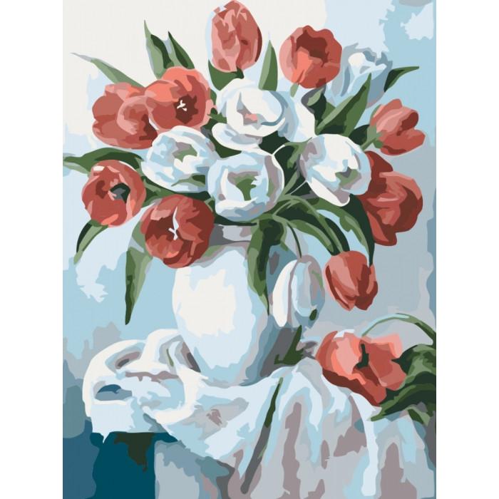 Картина по номерам Роспись на холсте Букет ярких тюльпанов КНО2046