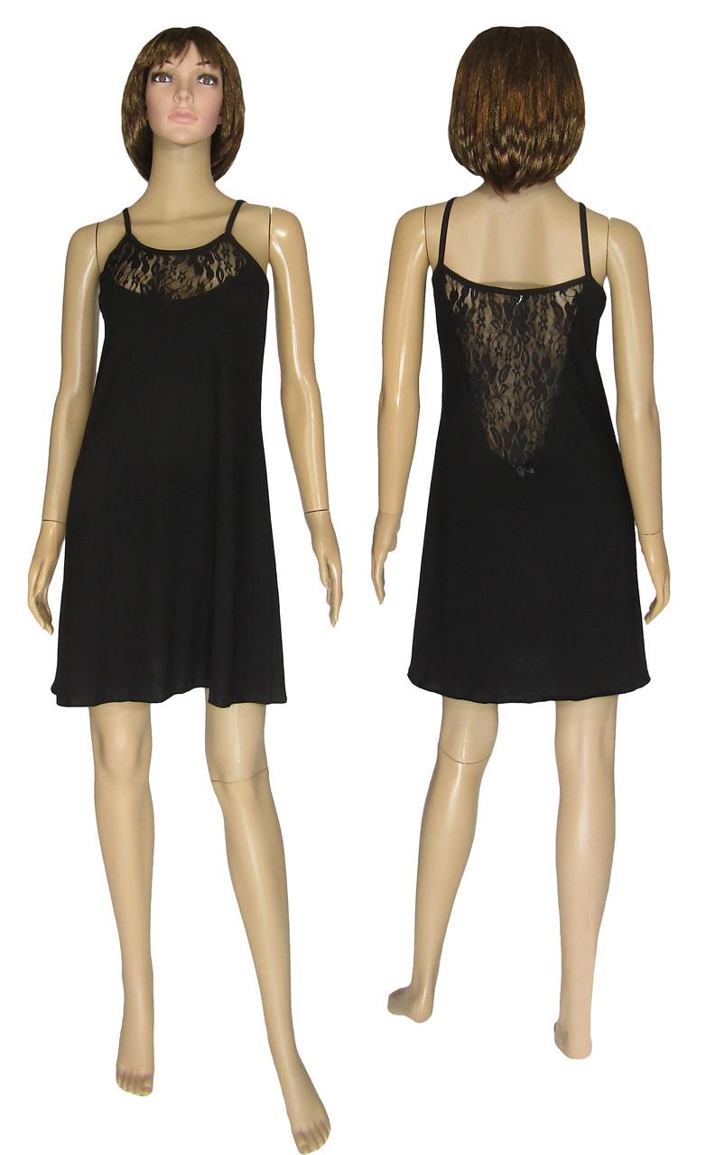 Ночная рубашка женская с кружевом 19023 Angel Black стрейч-коттон / гипюр, р.р.44-54
