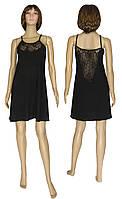 Ночная рубашка женская с кружевом 19023 Angel Black стрейч-коттон / гипюр, фото 1