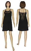 Ночная рубашка женская с кружевом 19023 Angel Black стрейч-коттон / гипюр