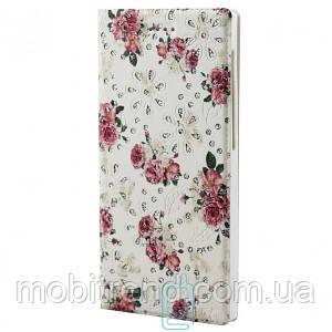 Универсальный чехол-книжка цветы-стразы 4.0-4.2″ №2 белый