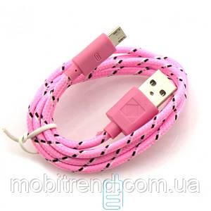 USB кабель Micro USB тканевый 1m розовый