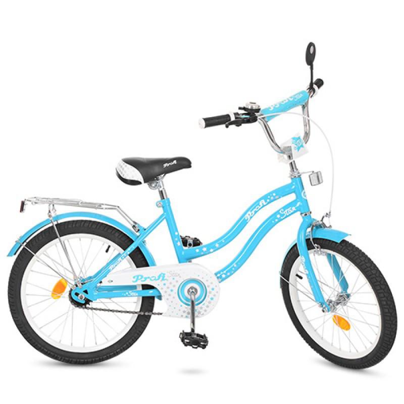 Детский двухколесный велосипед для девочки PROFI 20 дюймов голубой Star, L2094