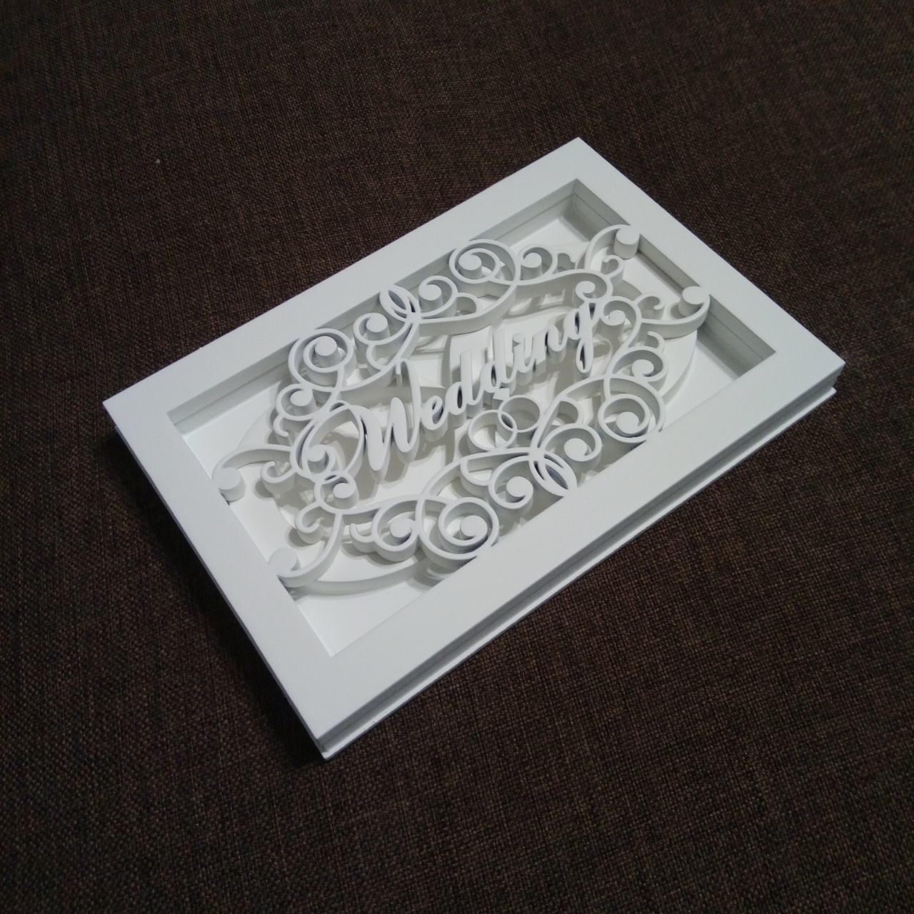 Деревянная коробочка для свадебных колец, белая