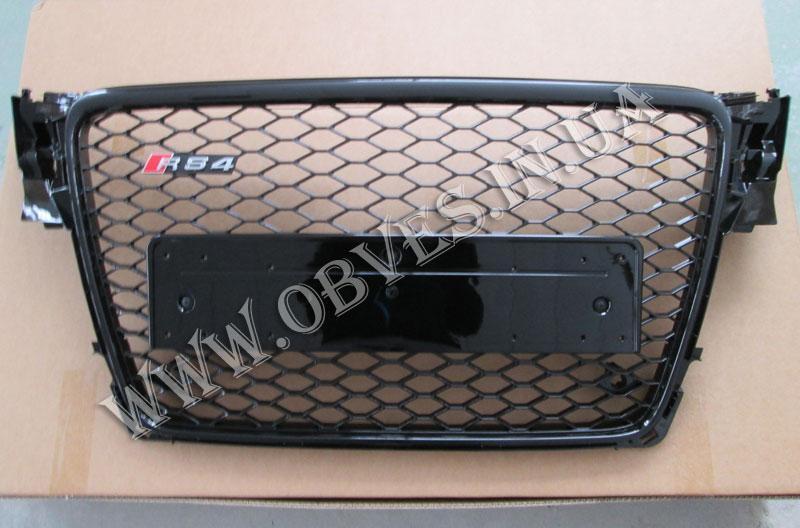 Решітка радіатора Audi A4 стиль RS4 (чорна окантовка, без емблеми Audi і без Quattro)