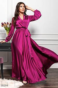 Стильное платье макси на запах длинный широкий рукав шелк армани смородинового цвета