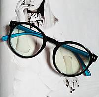 Имиджевые очки  круглые с  прозрачной линзой Чёрный+голубой