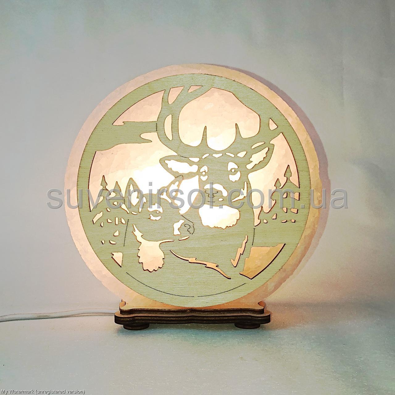 Соляной светильник круглый Пара оленей