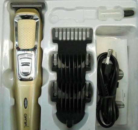 Машинка для стрижки Gemei GM 6077 триммер для бороди акумуляторна 3 довжини, фото 2