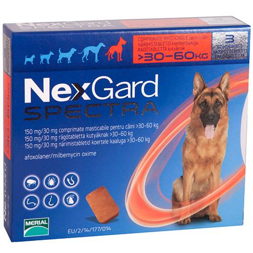 NexGard Spectra (Нексгард Спектра) таблетки для собак от блох и клещей XL 30-60 кг, 3 шт
