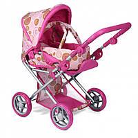 Детская коляска для куклы 2 в 1 с люлькой, розовая, Коляска для пупса