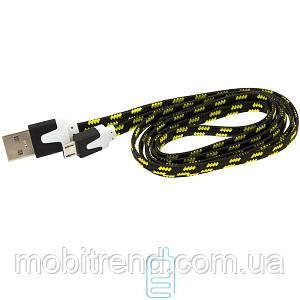 USB - Micro USB шнур плоский тканевый 1m черный