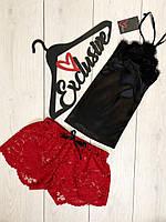 Красные кружевные шорты+майка романтичный комплект для сна 088.