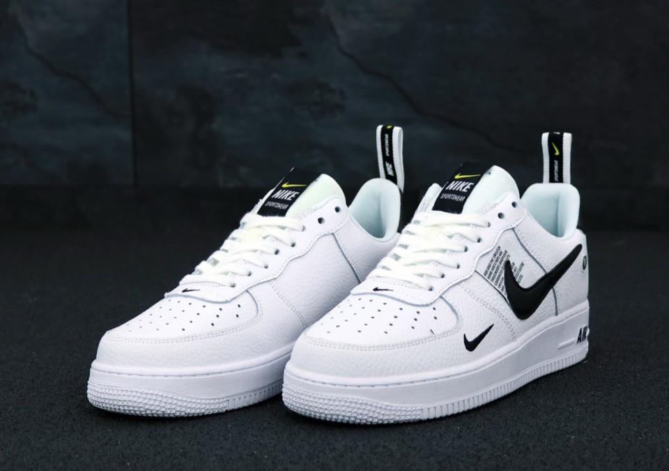 Кроссовки Nike Air Force 1 TM White Black Low, белые + черное лого