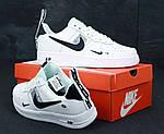 Кроссовки Nike Air Force 1 TM White Black Low, белые + черное лого, фото 2
