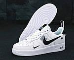 Кроссовки Nike Air Force 1 TM White Black Low, белые + черное лого, фото 4