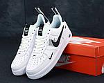 Кроссовки Nike Air Force 1 TM White Black Low, белые + черное лого, фото 3