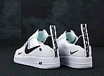 Кроссовки Nike Air Force 1 TM White Black Low, белые + черное лого, фото 5