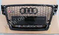 Решетка радиатора Audi A4 стиль RS4 (черная окантовка,  Quattro)