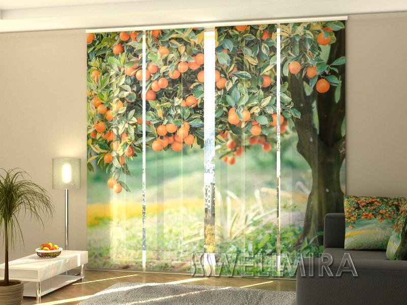 """Панельные Фотошторы """"Мандариновое дерево"""" 240 х 240 см фото шторы с рисунком штори панельная штора"""