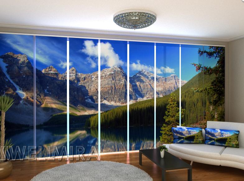 """Панельные Фотошторы """"Канадские скалистые горы"""" 480 х 240 см"""
