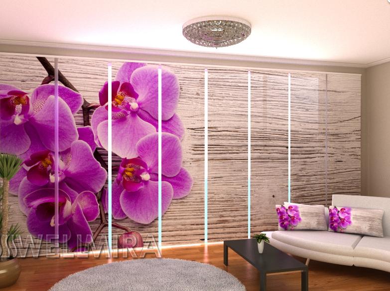 """Панельные Фото штори """"Орхидея и дерево 2"""" 480 х 240 см"""