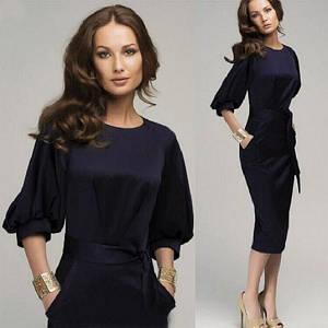 Платье миди стройнящее фигуру с расширенными рукавами /синее, 42-56р, sh-011/