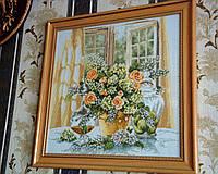 Набор для вышивки крестом Цветы в горшке. Размер: 34*33 см