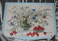 Набор для вышивки крестом Ромашки и вишни. Размер: 24,5*25,6 см