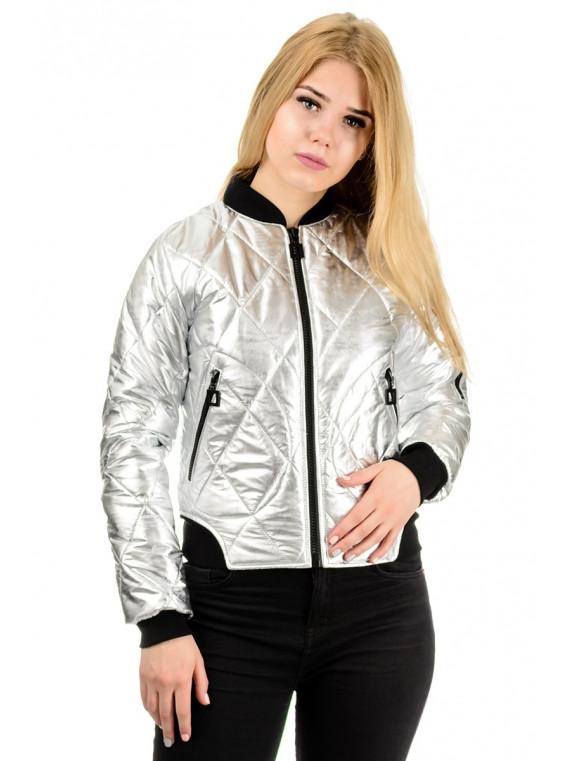 207 Женская куртка-бомбер Райна серебро (42-48)