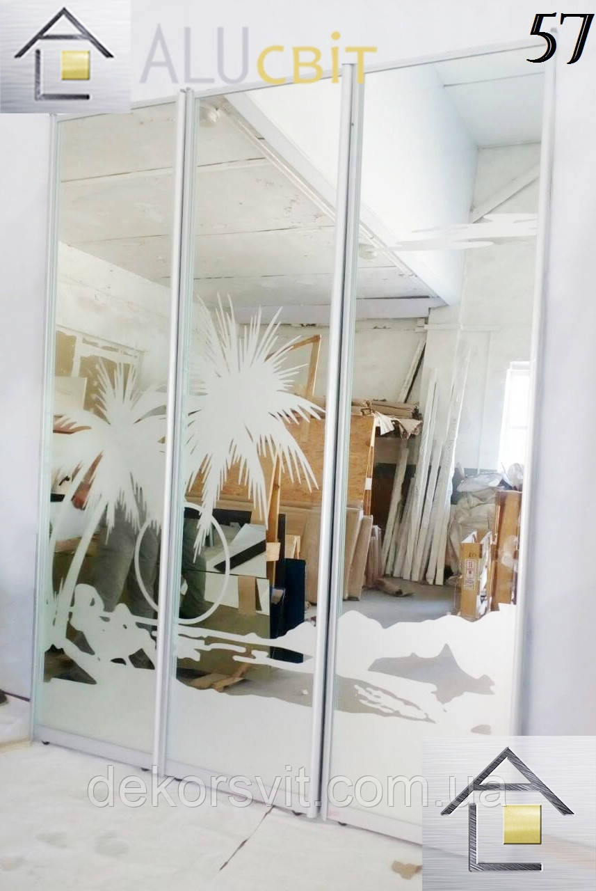 Фасады (двери) для шкафов купе - раздвижные системы художественное матирование (пескоструй)