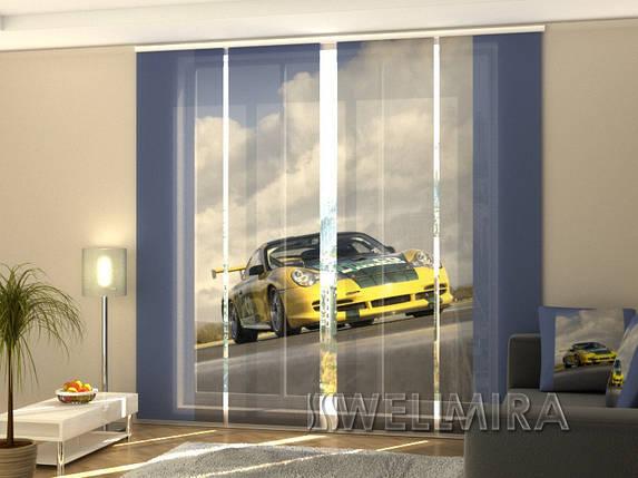 """Панельные Фотошторы """"Желтый суперкар"""" 240 х 240 см фото шторы штори панельная штора, фото 2"""