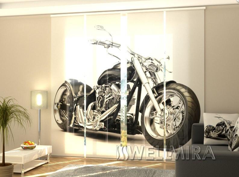 """Панельные Фотошторы """"Черный мотоцикл"""" 240 х 240 см фото шторы штори панельная штора"""