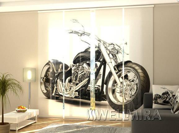 """Панельные Фотошторы """"Черный мотоцикл"""" 240 х 240 см фото шторы штори панельная штора, фото 2"""