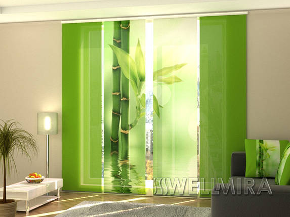 """Панельные Фотошторы """"Зеленый бамбук"""" 240 х 240 см фото шторы с рисунком штори панельная штора, фото 2"""