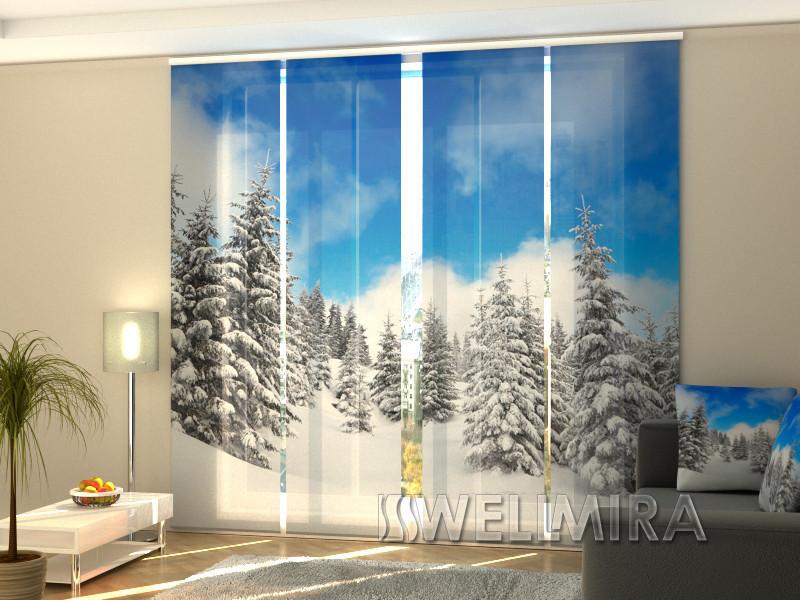 """Панельные Фотошторы """"Зима в лесу"""" 240 х 240 см фото шторы с рисунком штори панельная штора"""