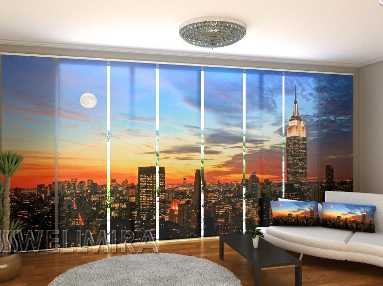 """Панельные Фотошторы """"Восход солнца в Нью-Йорке"""" 480 х 240 см"""