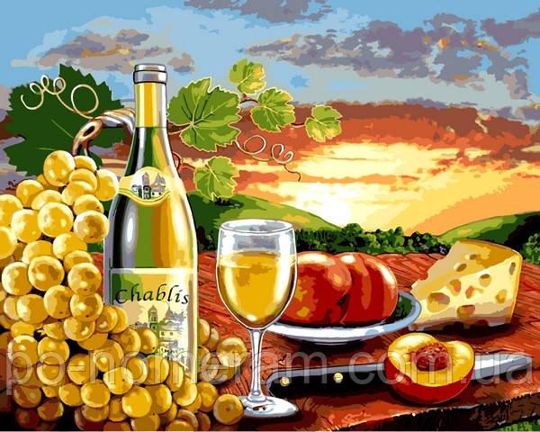 Раскраска для взрослых Белое вино с фруктами (VP1110) 40 х ...