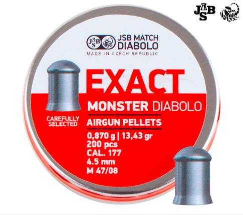 Пули пневм JSB Diabolo Exact Monster 4.52мм 0.87г 200шт, фото 2